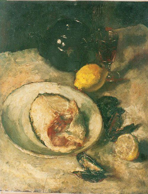 吴作人作品《静物(沙蒙鱼柠檬)》木板油画 1933年作