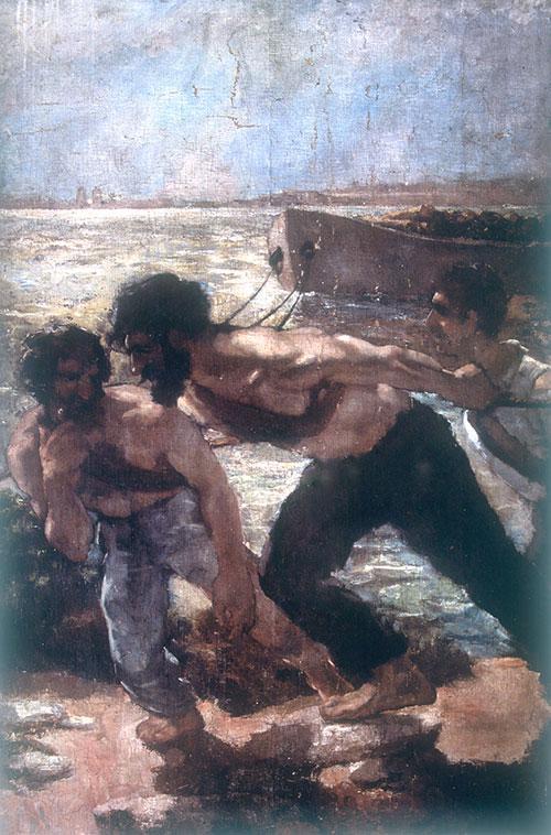 吴作人作品《纤夫》布面油画 1933年作  中央美术学院美术馆藏