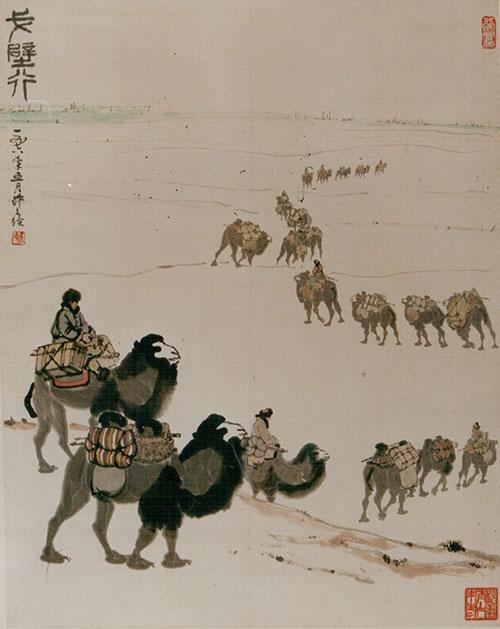 吴作人作品《戈壁行》国画1978年作 中国美术馆藏