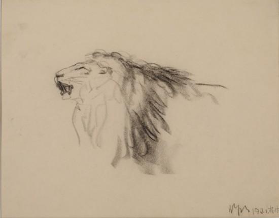 吴作人作品《狮头》纸质 炭笔