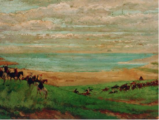 吴作人作品《祭青海》 木板 油画 1943年作