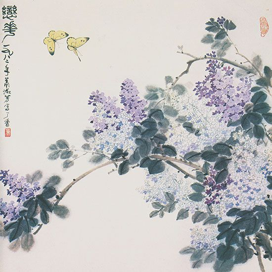 萧淑芳作品《恋花(丁香)》 国画