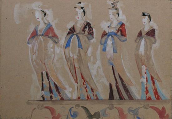 吴作人作品《供养女人莫高窟285窟》纸质 水彩临摹