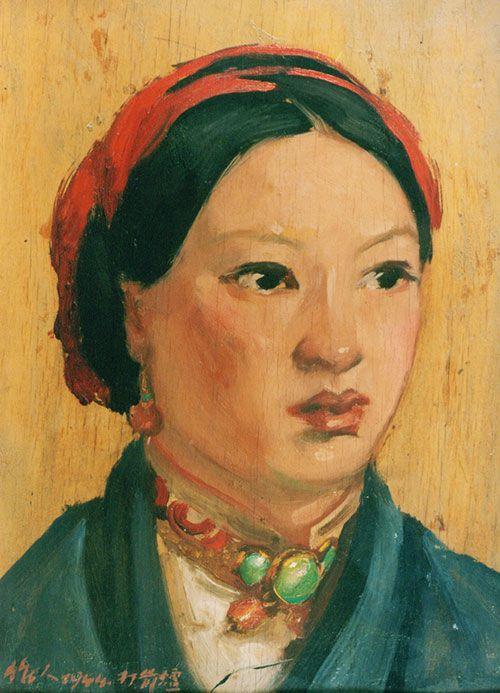 吴作人作品《打箭炉少女》木板油画 1944年作