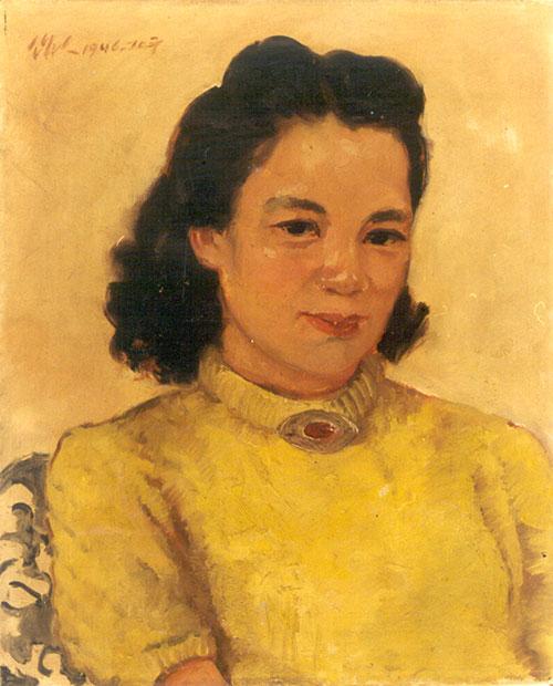 吴作人作品《萧淑芳像》 布面 油画 1946年作
