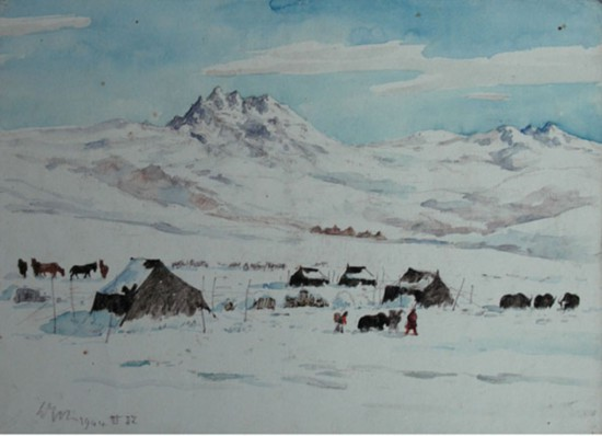 吴作人作品《甘孜市场之雪》 1944年作