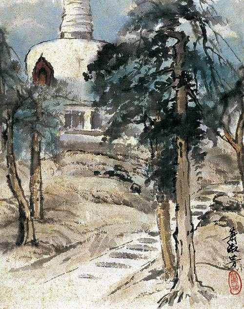 萧淑芳作品《北海白塔》国画 1936年作