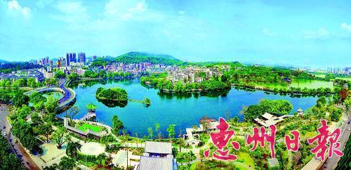 惠州西湖鸟瞰。 本报记者王建桥 摄
