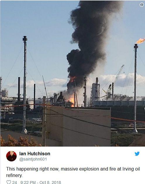 加拿大最大的炼油厂发生剧烈爆炸 现场黑烟滚滚