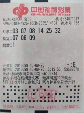 安庆双色球1金11银中奖彩票2