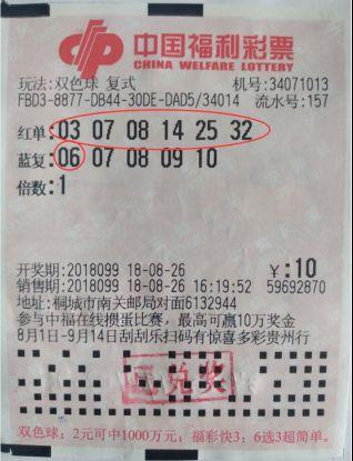 安庆双色球1金11银中奖彩票1