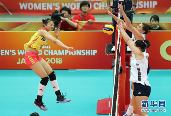 (体育)(2)排球――女排世锦赛:中国胜美国