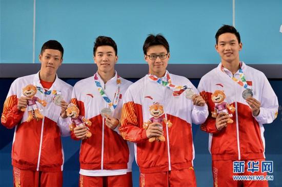 (青奥会)(1)游泳――中国队获男子4X100米混合泳接力亚军