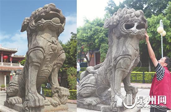 泉州百年风狮石像多部位遭泥浆涂抹 损坏不可逆