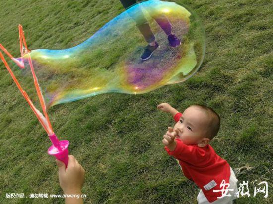近日,合肥秋高气爽,天气晴好,很多市民带着孩子到户外游玩。