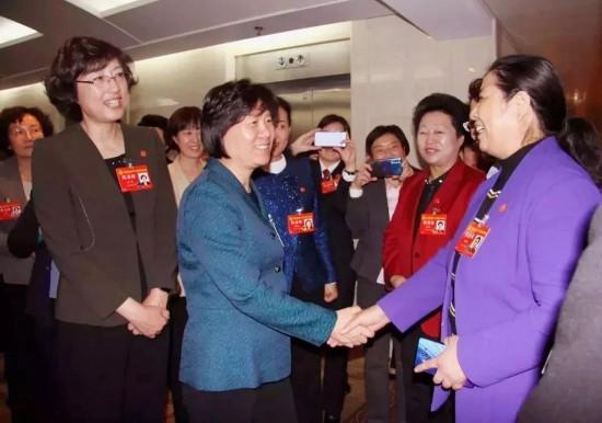 全国人大常委会副委员长、全国妇联主席沈跃跃看望山东代表团代表
