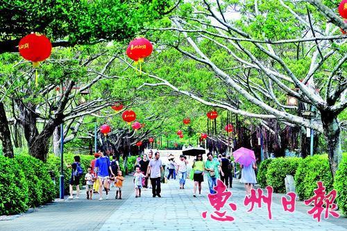 到惠州西湖游玩、休闲的市民、游客络绎不绝。 本报记者汤渝杭 摄