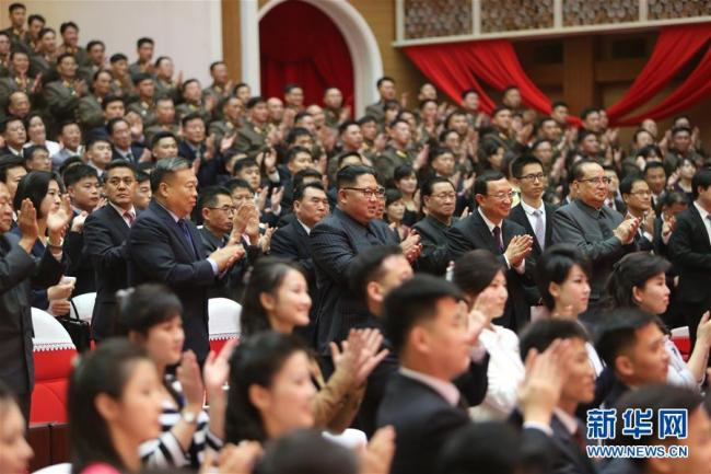 Kim Jong Un, chairman of the Workers' Party of Korea (WPK) and chairman of the State Affairs Commission of the Democratic People's Republic of Korea (DPRK), enjoys a joint performance held by artists from China and the Democratic People's Republic of Korea (DPRK) in Pyongyang on Saturday, November 3, 2018. [Photo: Xinhua]