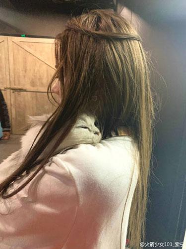 火箭少女紫寧晒與喵星人合影 自侃:挂了一隻新圍脖