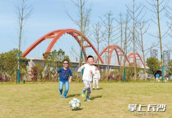 蓝天下,孩子们在湘江西岸的草地上自由玩耍,脸上自然流露着灿烂的笑容。
