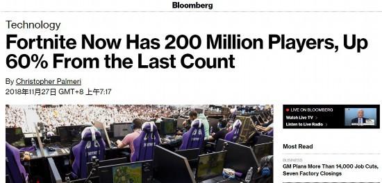 《堡垒之夜》注册玩家破2亿活跃玩家近八千万