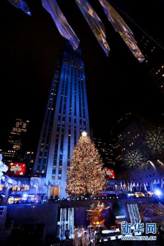 (XHDW)(1)纽约洛克菲勒中心点亮圣诞树