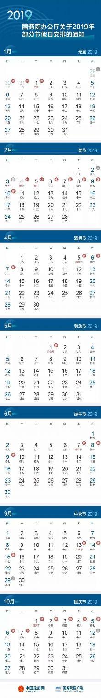 2019年放假安排出炉:春节2月4日至10日放假7天