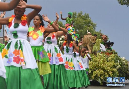 (国际)(1)南非:五彩斑斓的鲜花节巡游