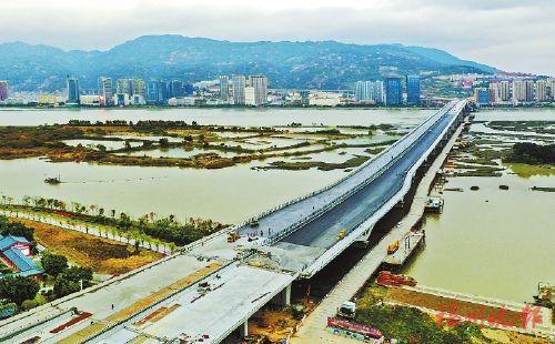 福州马尾大桥主线主体结构完工 有望明年春节前通车