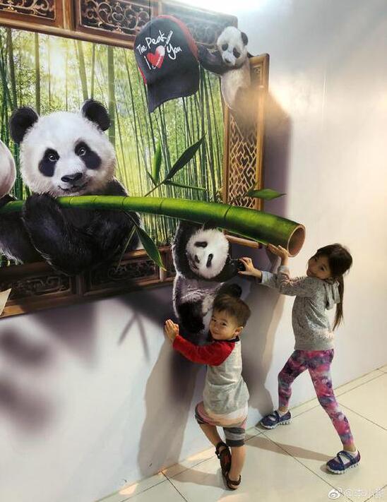 """李小鹏感慨时代代沟 奥莉和弟弟与""""大熊猫""""合影"""