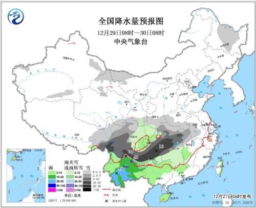 全国降水量预报图(12月29日08时-30日08时)