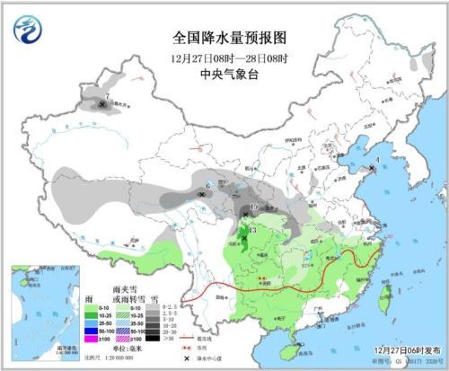 全国降水量预报图(12月27日08时-28日08时)