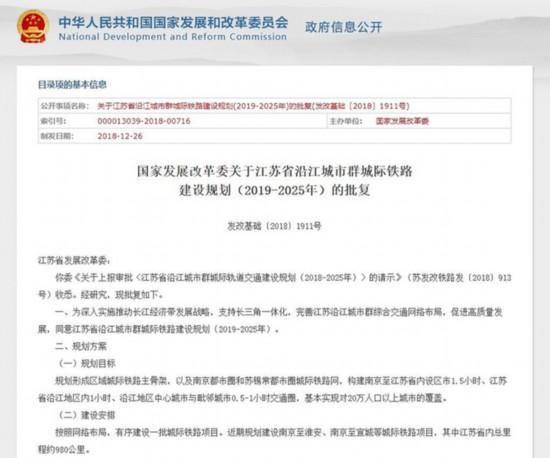 江苏沿江城市群城际铁路规划获批 一小时通达