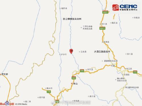 云南大理州云龙县发生3.4级地震震源深度12千米