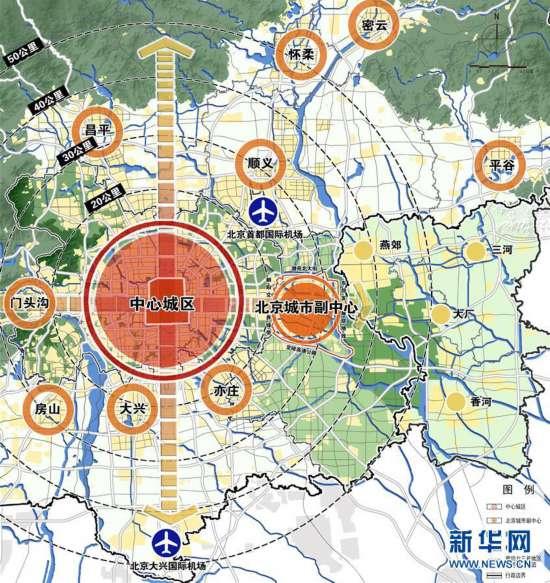 圖為北京城市副中心位置與區位分析圖。新華社發(北京市規劃自然資源委提供) 城市的核心是人口。根據2017年2月通州區五項普查數據,城市副中心常住人口約86萬人,人口密度約0.55萬人每平方公里。根據規劃,到2035年,城市副中心常住人口規模規制在130萬人以下,承接中心城區40-50萬常住人口疏解,人口密度控制在0.