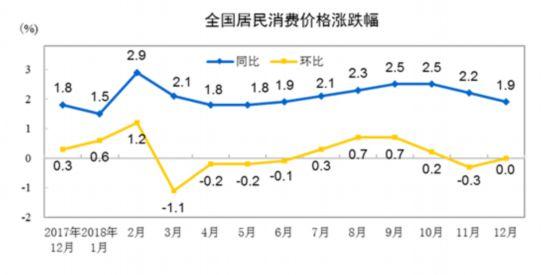 国家统计局:2018年全年全国居民消费价格(CPI)同比上涨2.1%