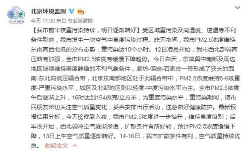 北京市环境保护监测中心官方微博截图