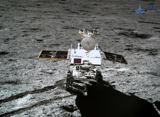Photo taken by the lander of the Chang'e-4 probe on Jan. 11, 2019 shows the rover Yutu-2 (Jade Rabbit-2).[File photo: Xinhua]