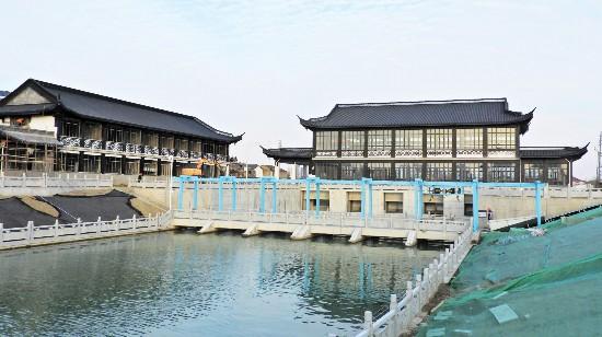 扬州新安墩河开坝放水 景观打造同时展开