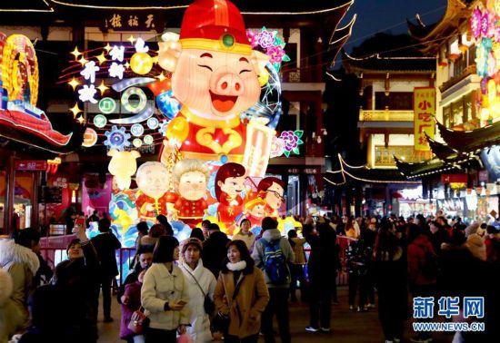 (社会)(1)2019豫园新春民俗艺术灯会亮灯