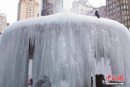 美国纽约持续低温喷泉变冰瀑