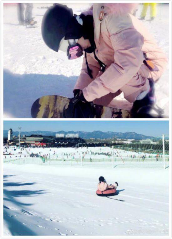 李小璐晒滑雪美照 带甜馨尽情玩耍画面温馨