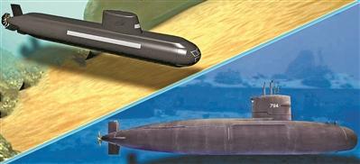 台湾地区潜艇项目的早期构想蓝图(上)和近期方案模型图(下)。