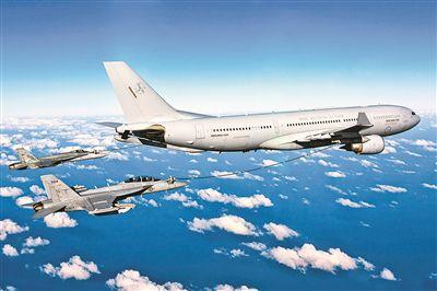 上图:空客公司的A330MRTT为两架战斗机同时加油。    图片来源:空客公司官方网站