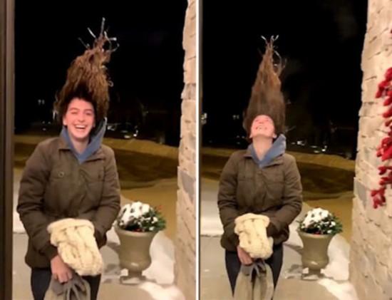 看看最近美国有多冷!女子湿头发在室外瞬间被冻直