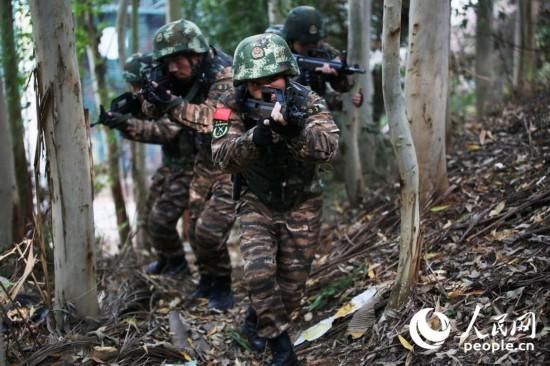 特战队员在密林中交替掩护搜索前进