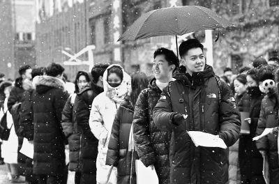 中戏艺考2月12日拉开帷幕 首日八千余考生冒雪应试