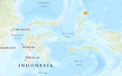 印尼北部海域发生4.9级地震震源深度45.3千米