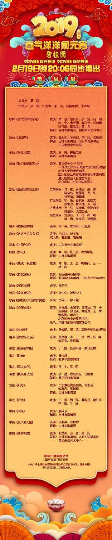 中央广播电视总台《2019年元宵晚会》节目单出炉