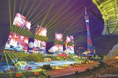 广州海心沙灯光音乐秀巨幅国旗献礼祖国70华诞